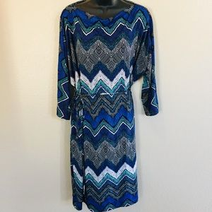 Avenue Long Sleeve Abstract Print Dress 22/24